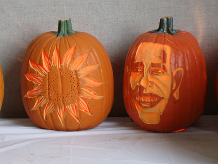 Obama and sun pumpkin